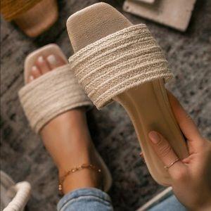 Natural Woven Slide Sandals